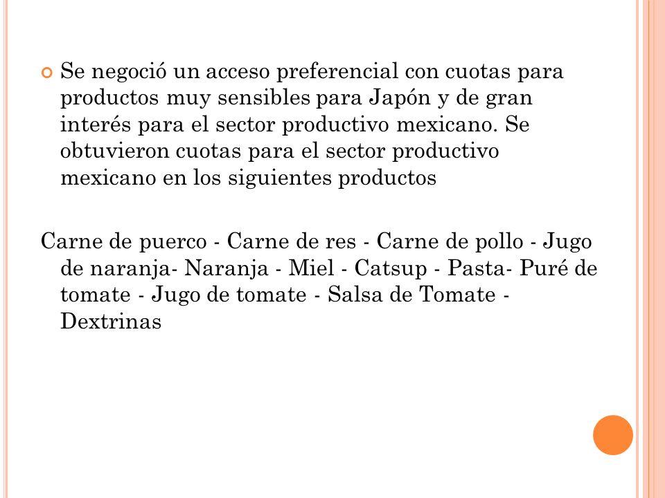Se negoció un acceso preferencial con cuotas para productos muy sensibles para Japón y de gran interés para el sector productivo mexicano. Se obtuvier