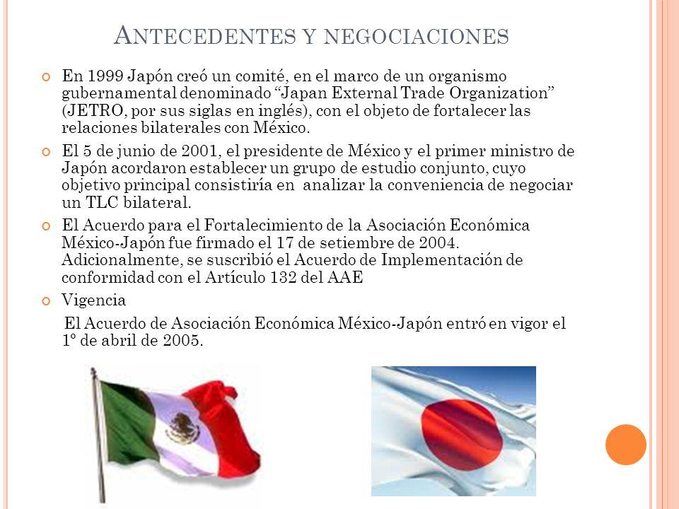 A NTECEDENTES Y NEGOCIACIONES En 1999 Japón creó un comité, en el marco de un organismo gubernamental denominado Japan External Trade Organization (JE