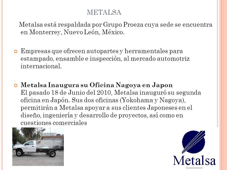 METALSA Metalsa está respaldada por Grupo Proeza cuya sede se encuentra en Monterrey, Nuevo León, México. Empresas que ofrecen autopartes y herramenta