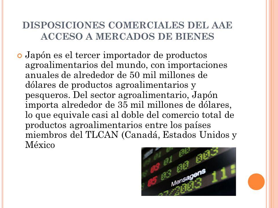 DISPOSICIONES COMERCIALES DEL AAE ACCESO A MERCADOS DE BIENES Japón es el tercer importador de productos agroalimentarios del mundo, con importaciones