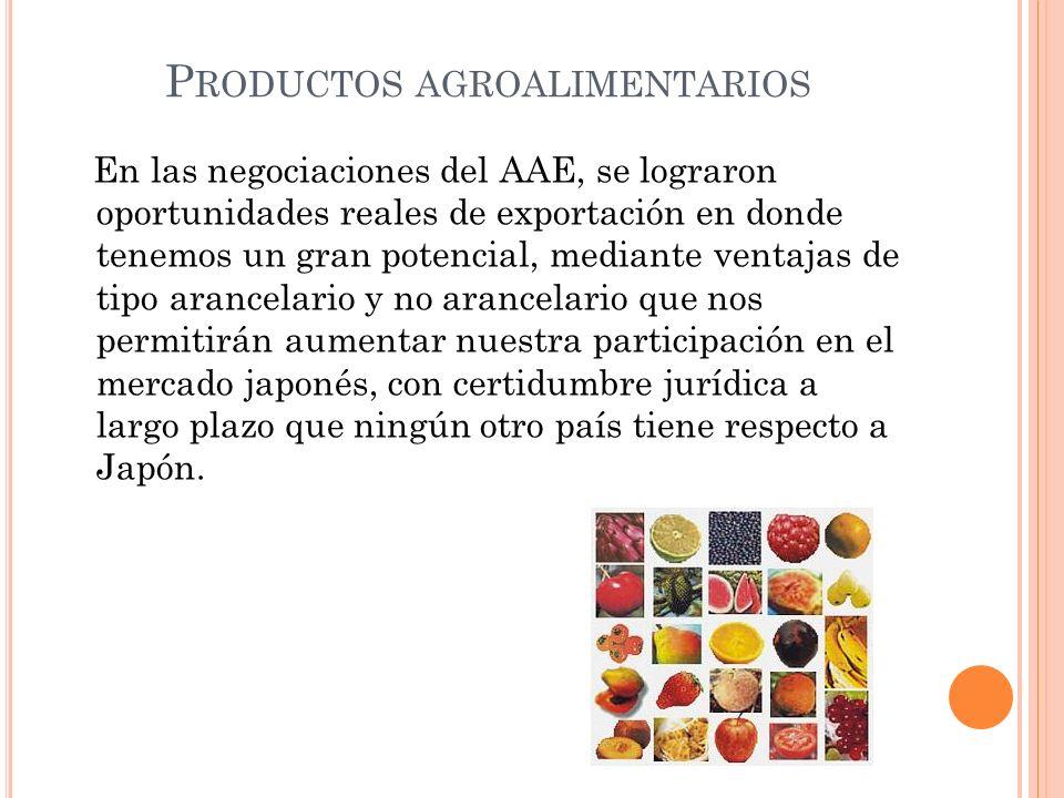 P RODUCTOS AGROALIMENTARIOS En las negociaciones del AAE, se lograron oportunidades reales de exportación en donde tenemos un gran potencial, mediante