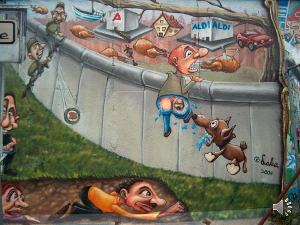 EL MURO DE BERLÍN EN LA ACTUALIDAD Hoy en día se han hecho grafittis en el muro que hacen referencia a algunos de los acontecimient os que sucedieron.