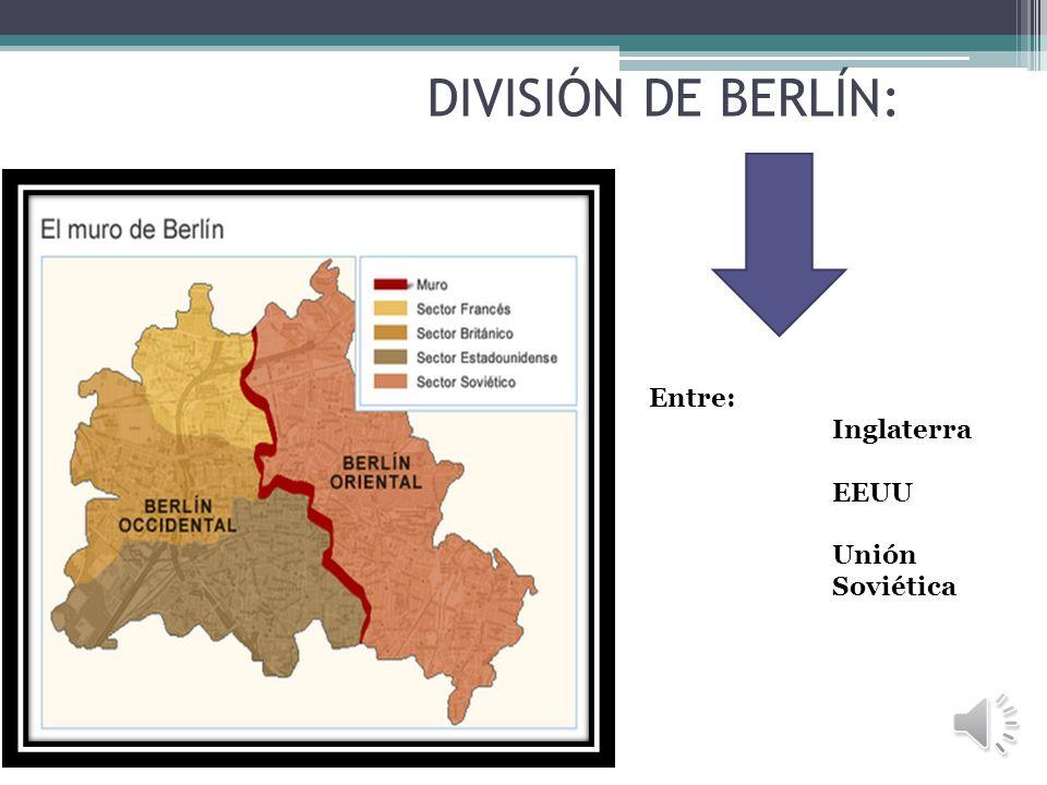 DIVISIÓN DE BERLÍN En 1945, tras finalizar la Segunda Guerra Mundial, los vencedores de Alemania (EEUU, la entonces Unión Soviética, Inglaterra) ocupa