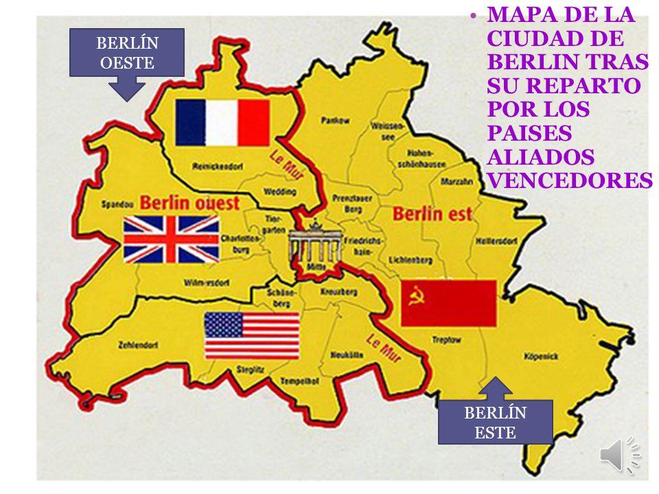 MAPA DE LA CIUDAD DE BERLIN TRAS SU REPARTO POR LOS PAISES ALIADOS VENCEDORES BERLÍN OESTE BERLÍN ESTE