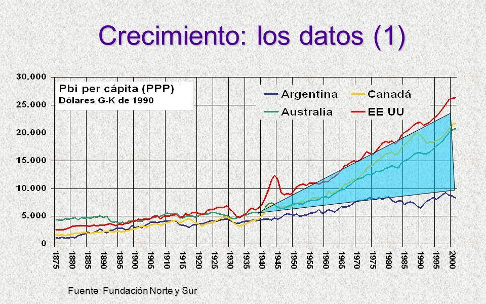 Crecimiento: los datos (1) Fuente: Fundación Norte y Sur