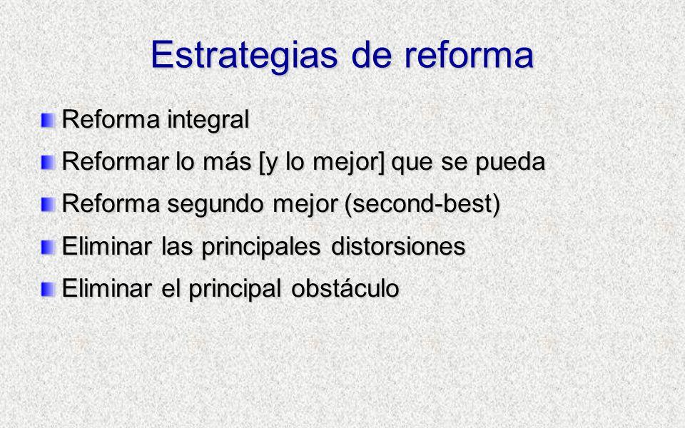 Estrategias de reforma Reforma integral Reformar lo más [y lo mejor] que se pueda Reforma segundo mejor (second-best) Eliminar las principales distorsiones Eliminar el principal obstáculo