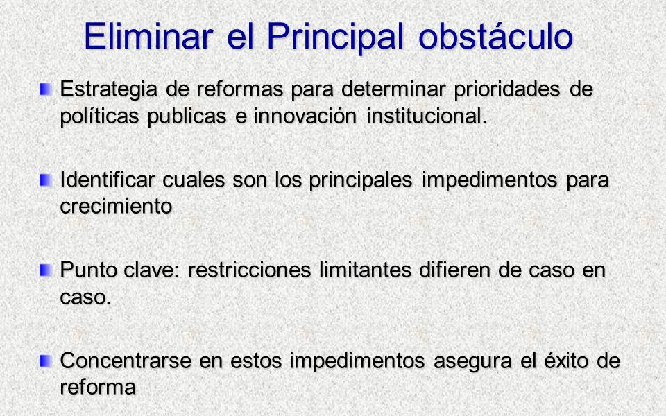 Eliminar el Principal obstáculo Estrategia de reformas para determinar prioridades de políticas publicas e innovación institucional.