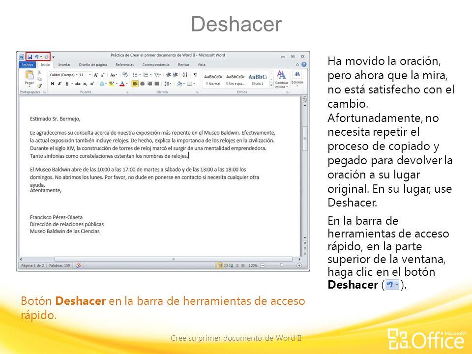 Deshacer Cree su primer documento de Word II Botón Deshacer en la barra de herramientas de acceso rápido.