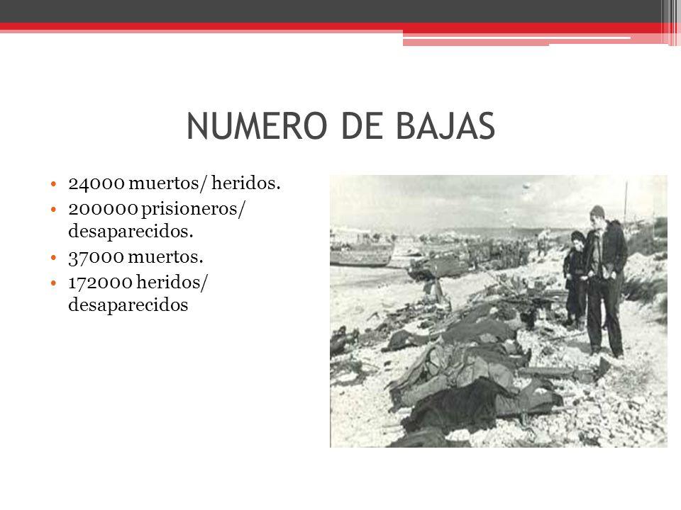 NUMERO DE BAJAS 24000 muertos/ heridos.200000 prisioneros/ desaparecidos.