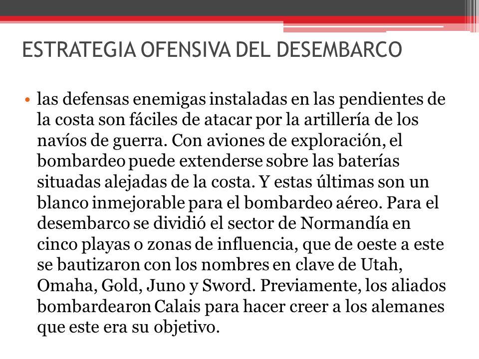 ESTRATEGIA OFENSIVA DEL DESEMBARCO las defensas enemigas instaladas en las pendientes de la costa son fáciles de atacar por la artillería de los navíos de guerra.