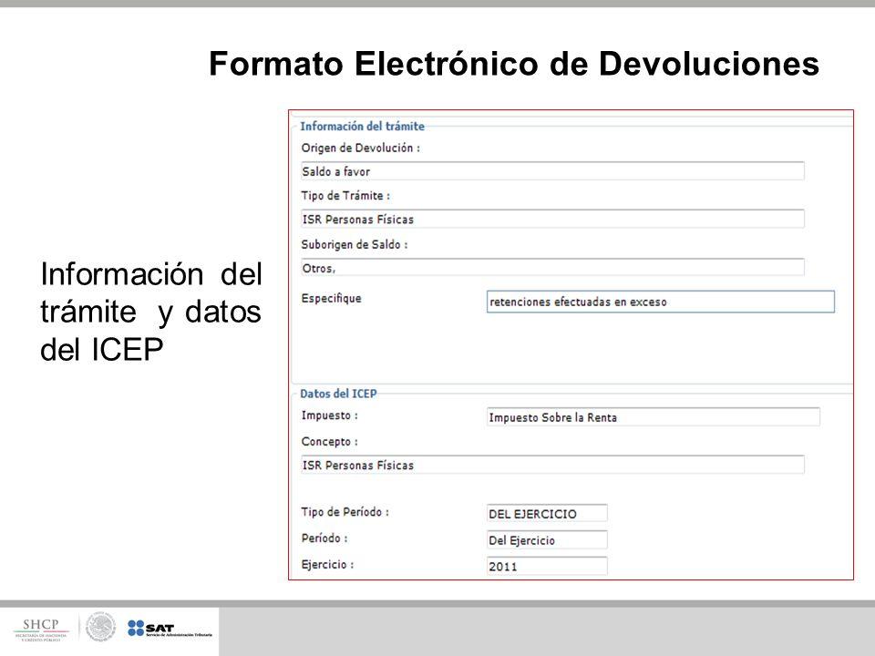 Información del trámite y datos del ICEP Formato Electrónico de Devoluciones