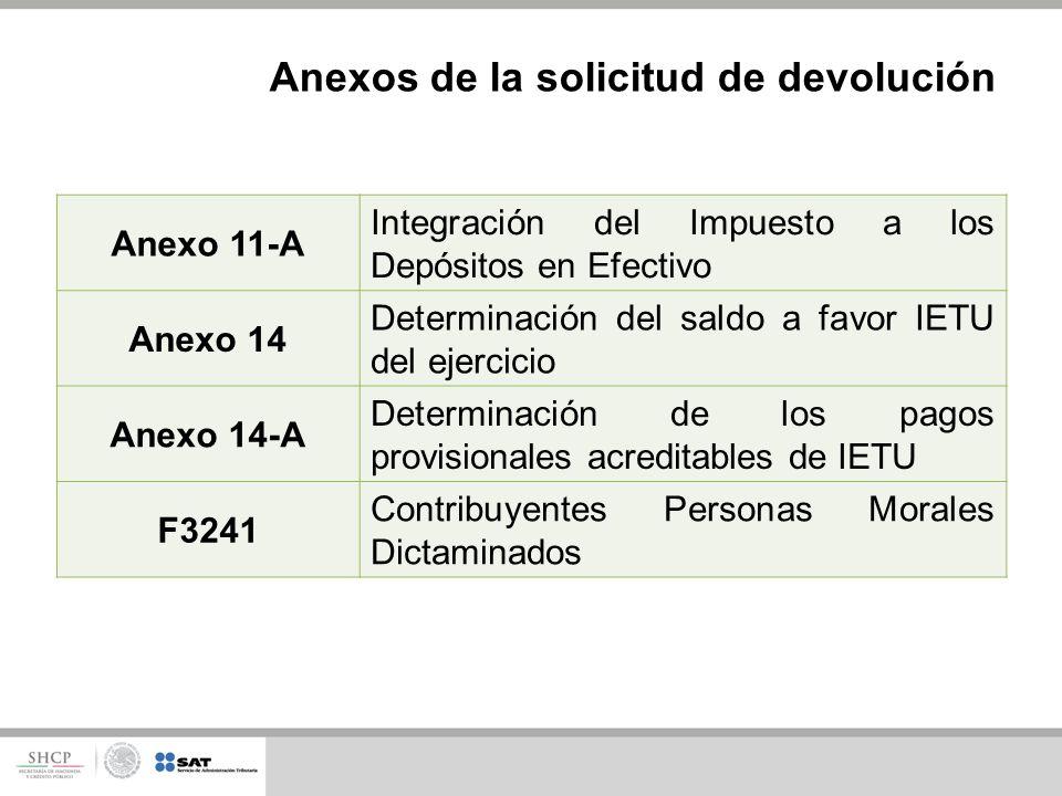 Anexos de la solicitud de devolución Anexo 11-A Integración del Impuesto a los Depósitos en Efectivo Anexo 14 Determinación del saldo a favor IETU del ejercicio Anexo 14-A Determinación de los pagos provisionales acreditables de IETU F3241 Contribuyentes Personas Morales Dictaminados