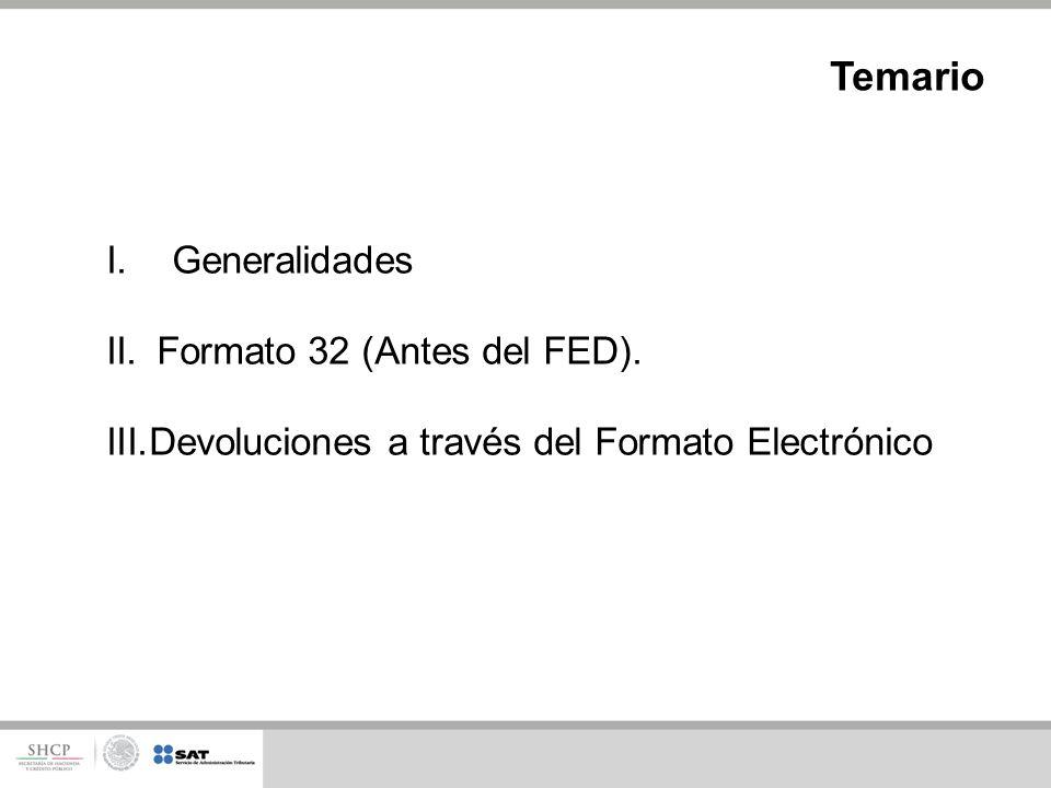 I.Generalidades II. Formato 32 (Antes del FED). III.Devoluciones a través del Formato Electrónico Temario