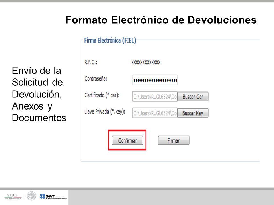 Formato Electrónico de Devoluciones Envío de la Solicitud de Devolución, Anexos y Documentos