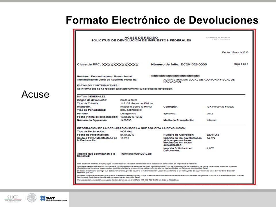 Acuse Formato Electrónico de Devoluciones