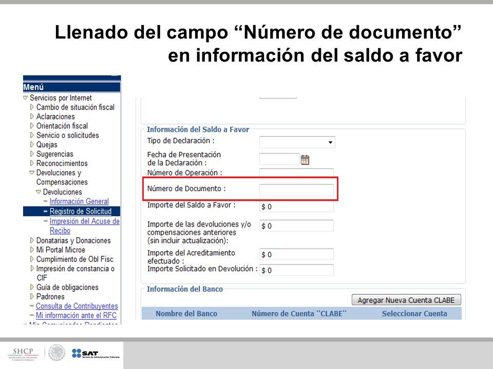 Llenado del campo Número de documento en información del saldo a favor