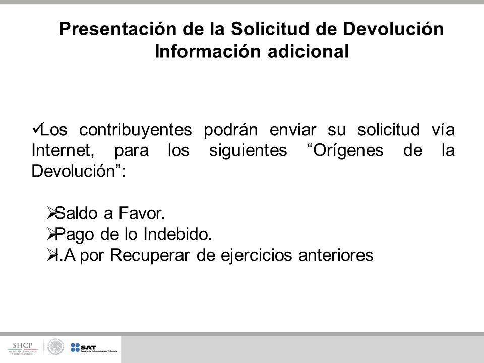 Los contribuyentes podrán enviar su solicitud vía Internet, para los siguientes Orígenes de la Devolución: Saldo a Favor.