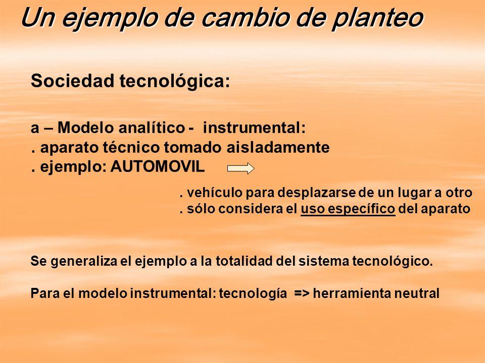Se generaliza el ejemplo a la totalidad del sistema tecnológico. Para el modelo instrumental: tecnología => herramienta neutral Un ejemplo de cambio d