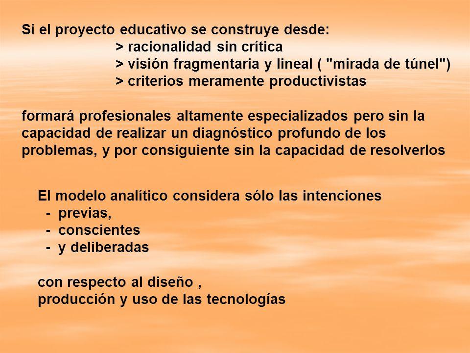 Si el proyecto educativo se construye desde: > racionalidad sin crítica > visión fragmentaria y lineal (