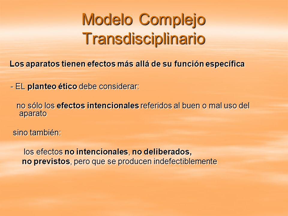 Modelo Complejo Transdisciplinario - Los aparatos tienen efectos más allá de su función específica - Los aparatos tienen efectos más allá de su funció