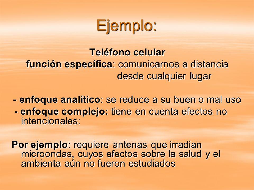 Ejemplo: Teléfono celular función específica: comunicarnos a distancia desde cualquier lugar desde cualquier lugar - enfoque analítico: se reduce a su