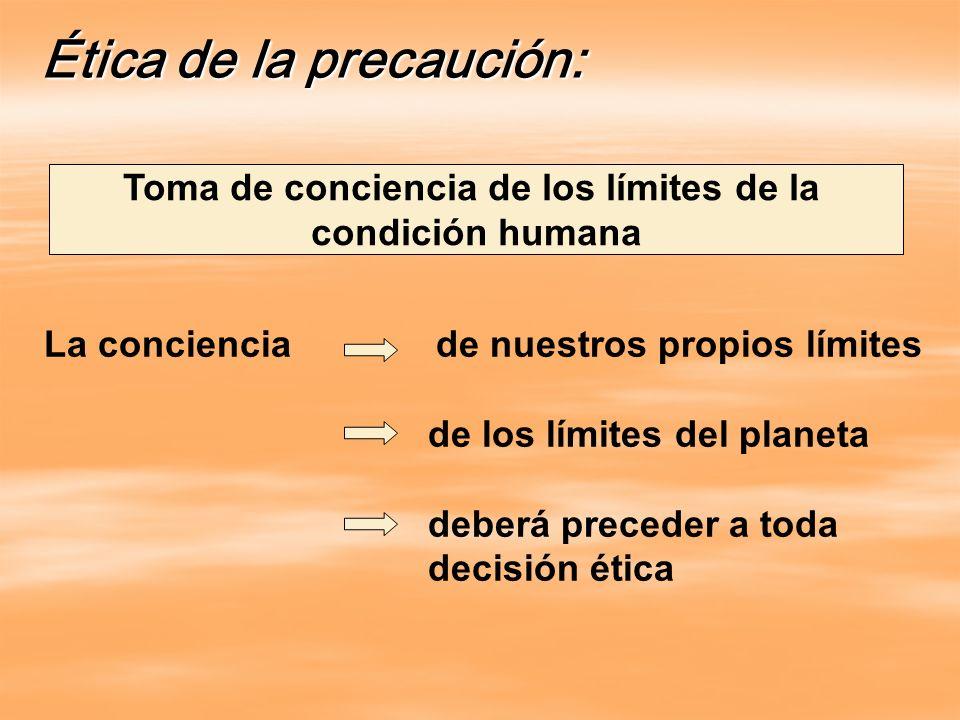 Ética de la precaución: Toma de conciencia de los límites de la condición humana La conciencia de nuestros propios límites de los límites del planeta