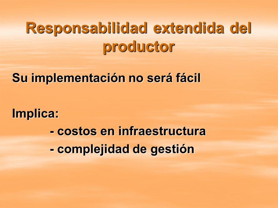 Responsabilidad extendida del productor Su implementación no será fácil Implica: - costos en infraestructura - costos en infraestructura - complejidad