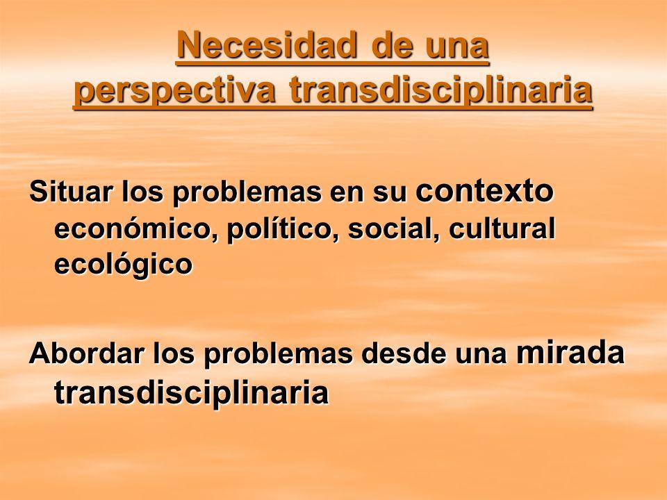 Necesidad de una perspectiva transdisciplinaria Situar los problemas en su contexto económico, político, social, cultural ecológico Abordar los proble