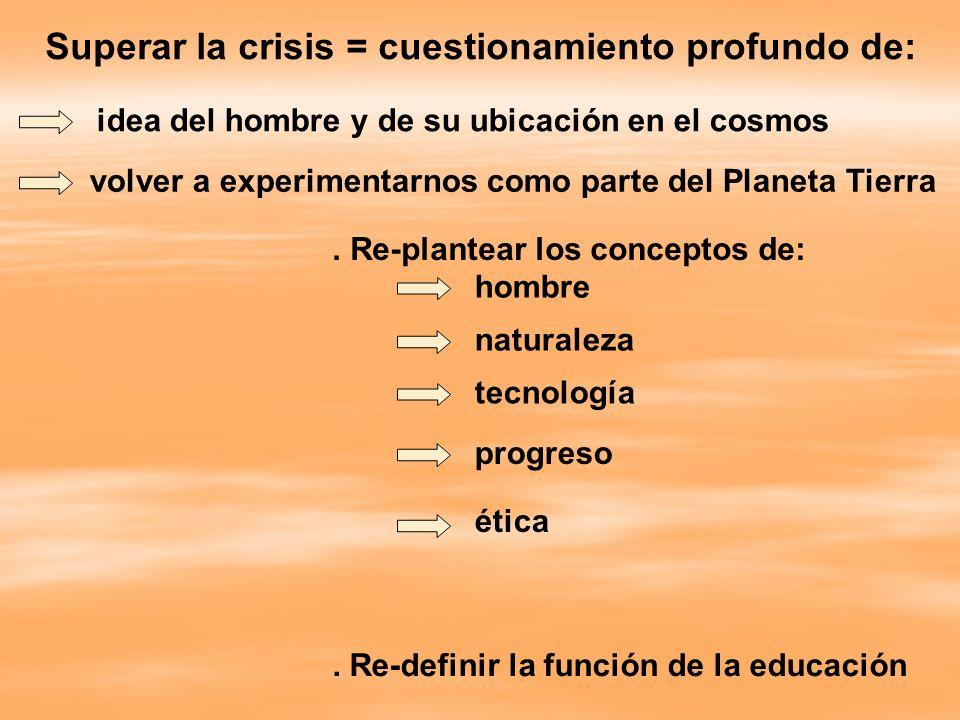 Superar la crisis = cuestionamiento profundo de: idea del hombre y de su ubicación en el cosmos volver a experimentarnos como parte del Planeta Tierra