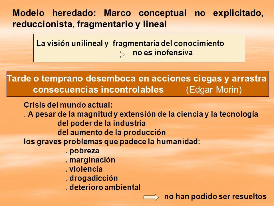 La visión unilineal y fragmentaria del conocimiento no es inofensiva Modelo heredado: Marco conceptual no explicitado, reduccionista, fragmentario y l