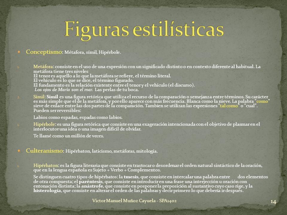 Conceptismo : Métafora, símil, Hipérbole. 1. Metáfora: consiste en el uso de una expresión con un significado distinto o en contexto diferente al habi
