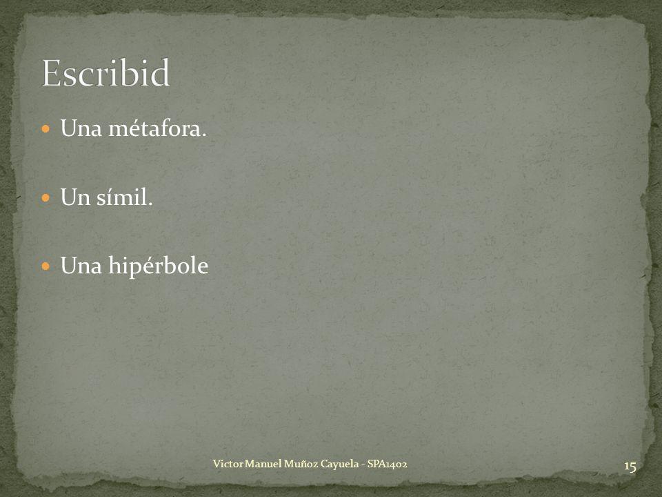 Una métafora. Un símil. Una hipérbole 15 Victor Manuel Muñoz Cayuela - SPA1402