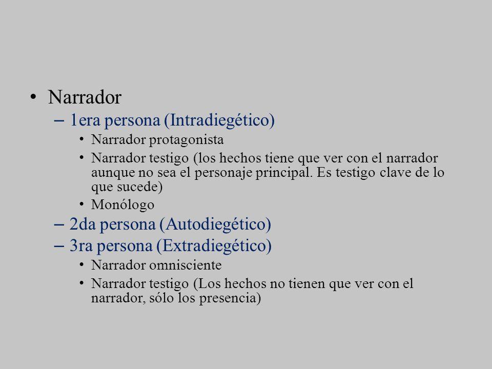 Narrador –1era persona (Intradiegético) Narrador protagonista Narrador testigo (los hechos tiene que ver con el narrador aunque no sea el personaje pr