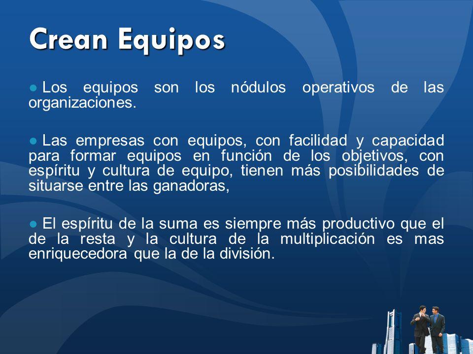 Crean Equipos Los equipos son los nódulos operativos de las organizaciones. Las empresas con equipos, con facilidad y capacidad para formar equipos en