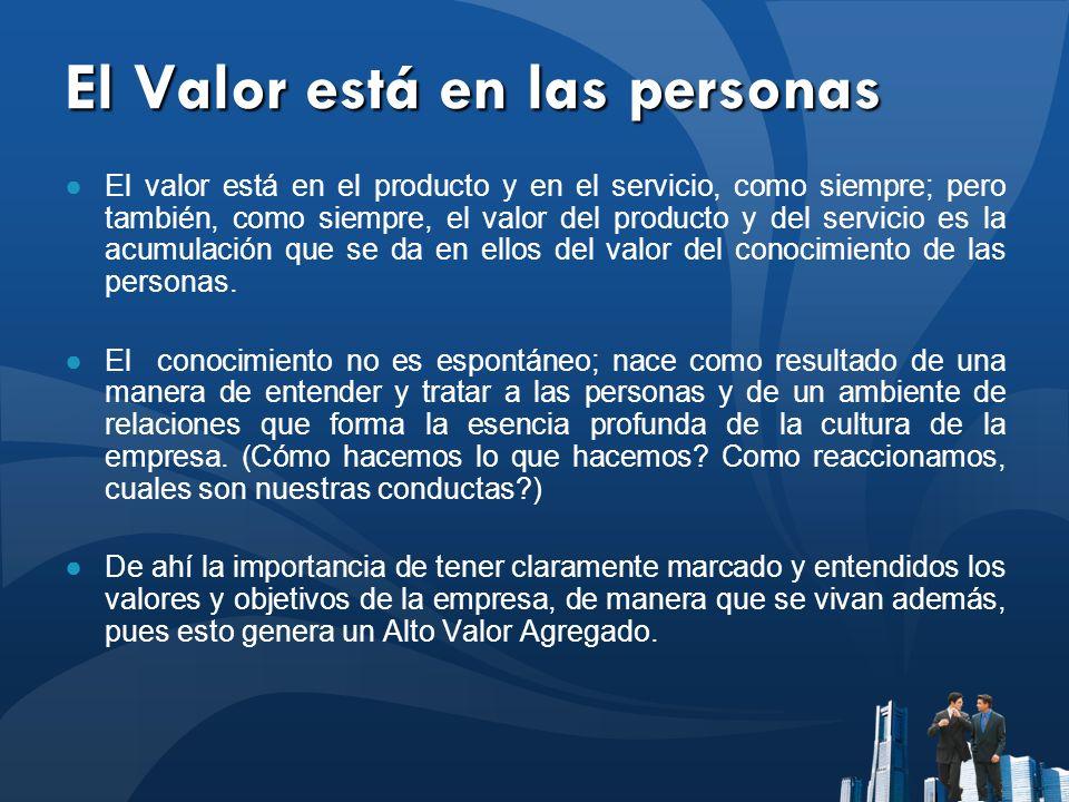 El Valor está en las personas El valor está en el producto y en el servicio, como siempre; pero también, como siempre, el valor del producto y del ser