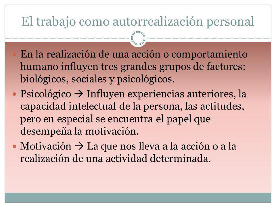 El trabajo como autorrealización personal En la realización de una acción o comportamiento humano influyen tres grandes grupos de factores: biológicos