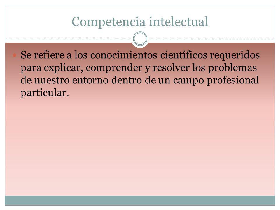 Competencia intelectual Se refiere a los conocimientos científicos requeridos para explicar, comprender y resolver los problemas de nuestro entorno de