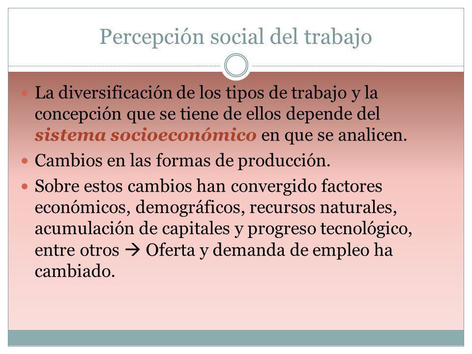Percepción social del trabajo La diversificación de los tipos de trabajo y la concepción que se tiene de ellos depende del sistema socioeconómico en q