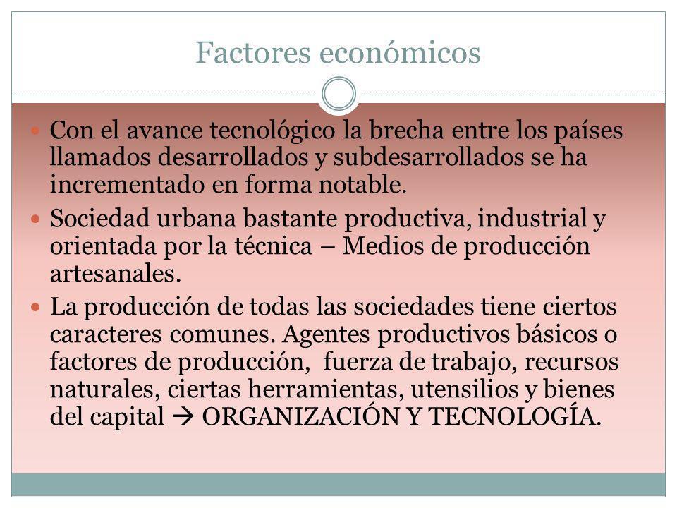 Factores económicos Con el avance tecnológico la brecha entre los países llamados desarrollados y subdesarrollados se ha incrementado en forma notable