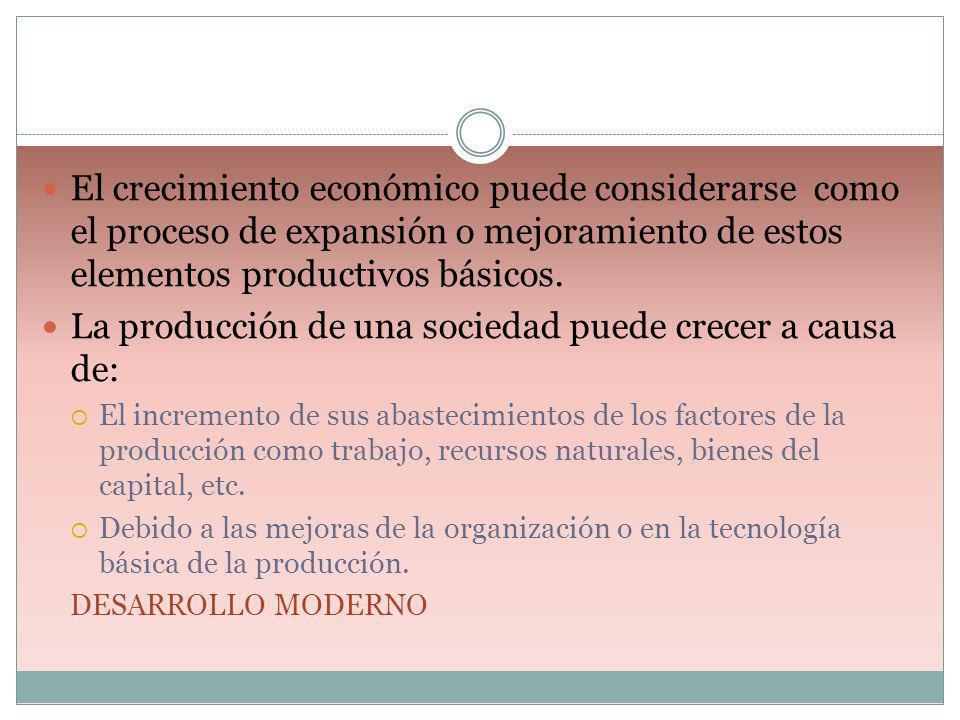 El crecimiento económico puede considerarse como el proceso de expansión o mejoramiento de estos elementos productivos básicos. La producción de una s