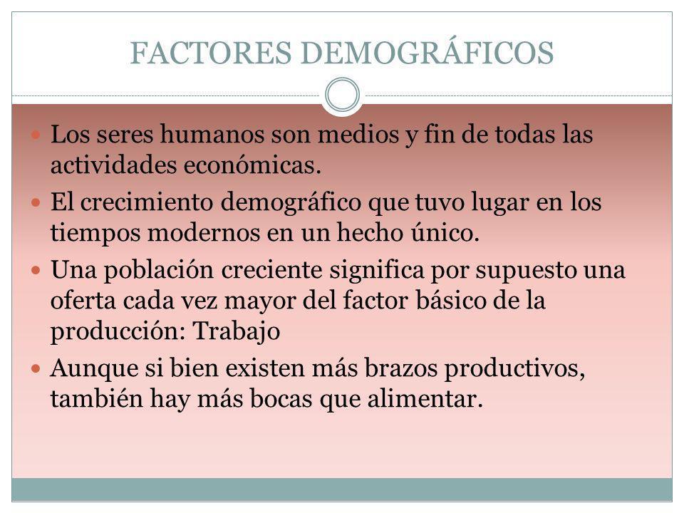 FACTORES DEMOGRÁFICOS Los seres humanos son medios y fin de todas las actividades económicas. El crecimiento demográfico que tuvo lugar en los tiempos