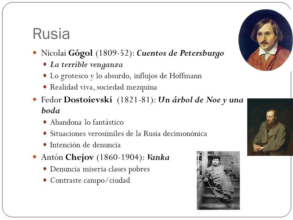 Rusia Nicolai Gógol (1809-52): Cuentos de Petersburgo La terrible venganza Lo grotesco y lo absurdo, influjos de Hoffmann Realidad viva, sociedad mezq