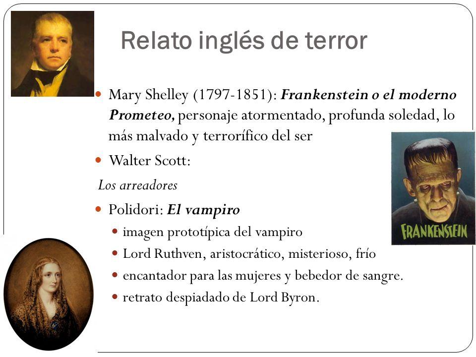 Relato inglés de terror Mary Shelley (1797-1851): Frankenstein o el moderno Prometeo, personaje atormentado, profunda soledad, lo más malvado y terror