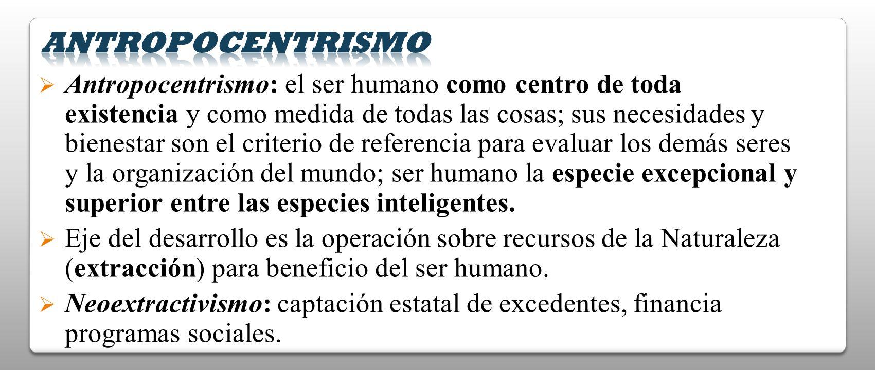 Antropocentrismo: el ser humano como centro de toda existencia y como medida de todas las cosas; sus necesidades y bienestar son el criterio de refere