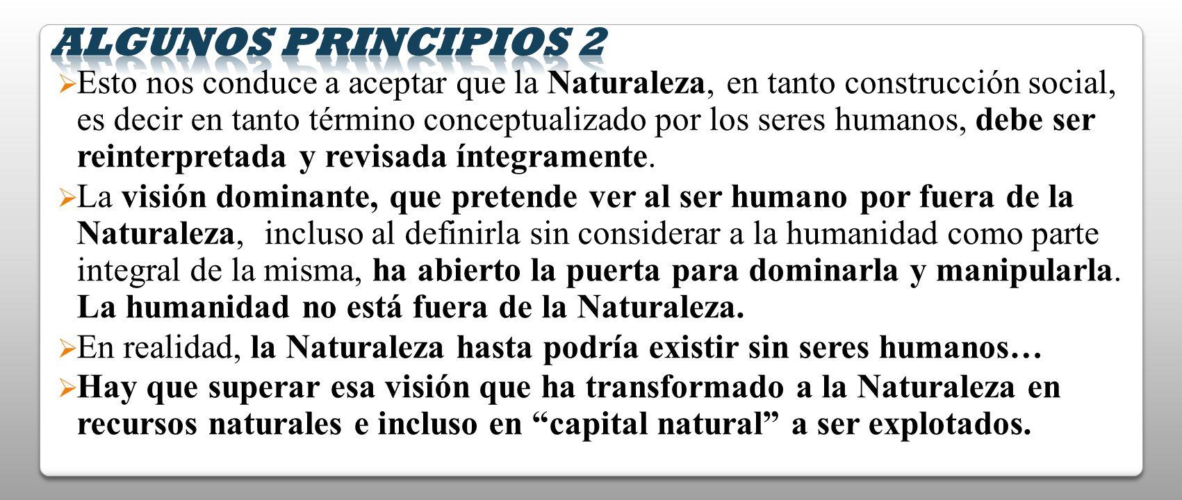Esto nos conduce a aceptar que la Naturaleza, en tanto construcción social, es decir en tanto término conceptualizado por los seres humanos, debe ser
