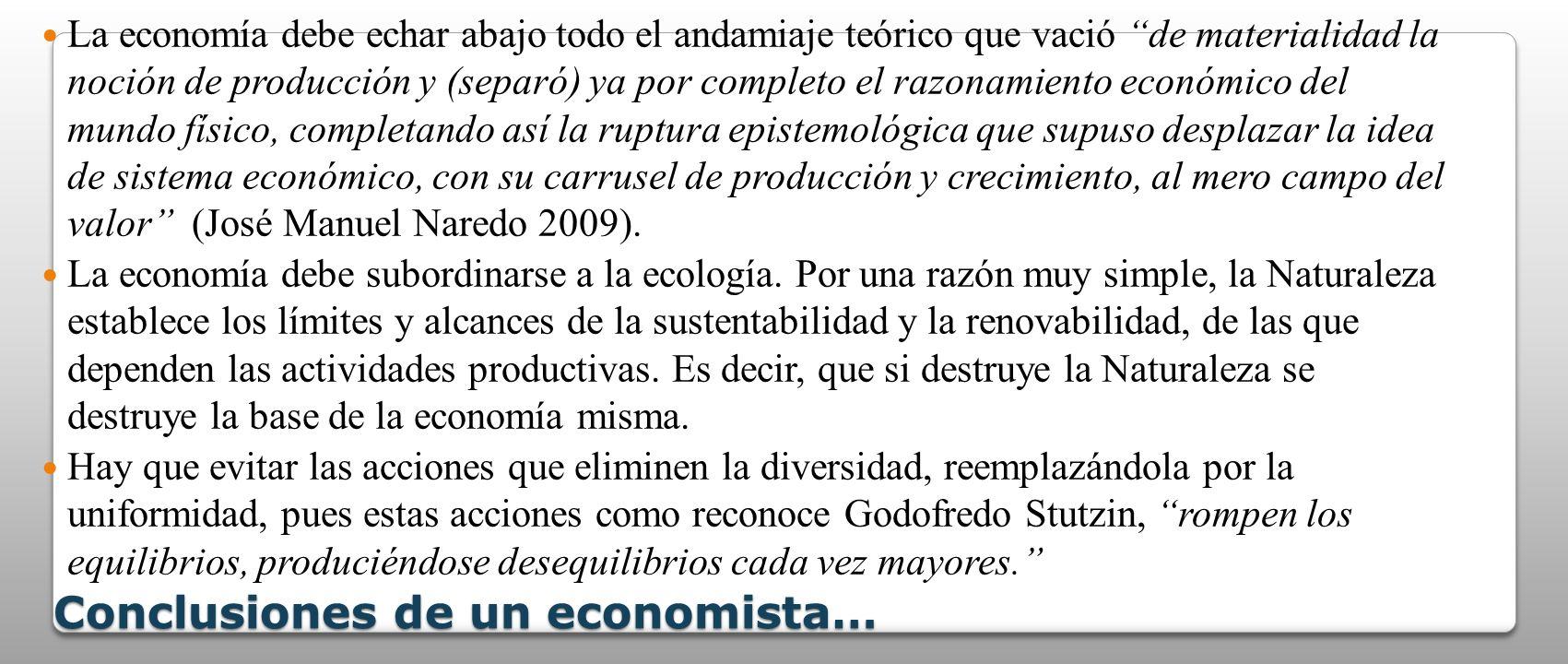 Conclusiones de un economista… La economía debe echar abajo todo el andamiaje teórico que vació de materialidad la noción de producción y (separó) ya