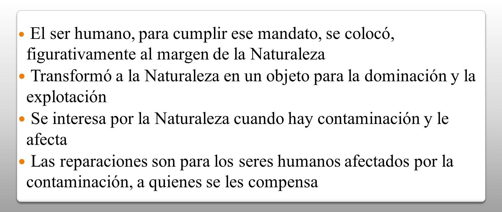El ser humano, para cumplir ese mandato, se colocó, figurativamente al margen de la Naturaleza Transformó a la Naturaleza en un objeto para la dominac