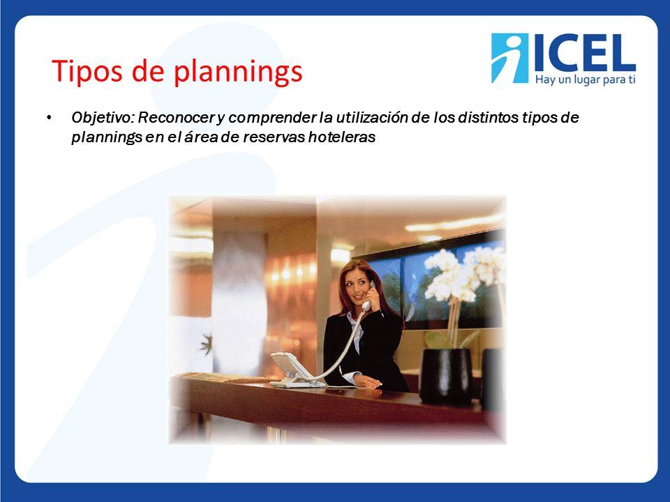 Tipos de plannings Objetivo: Reconocer y comprender la utilización de los distintos tipos de plannings en el área de reservas hoteleras