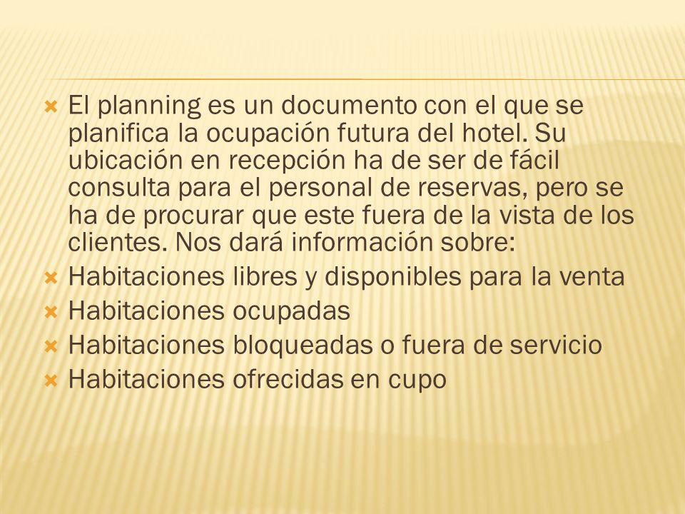 El planning es un documento con el que se planifica la ocupación futura del hotel. Su ubicación en recepción ha de ser de fácil consulta para el perso