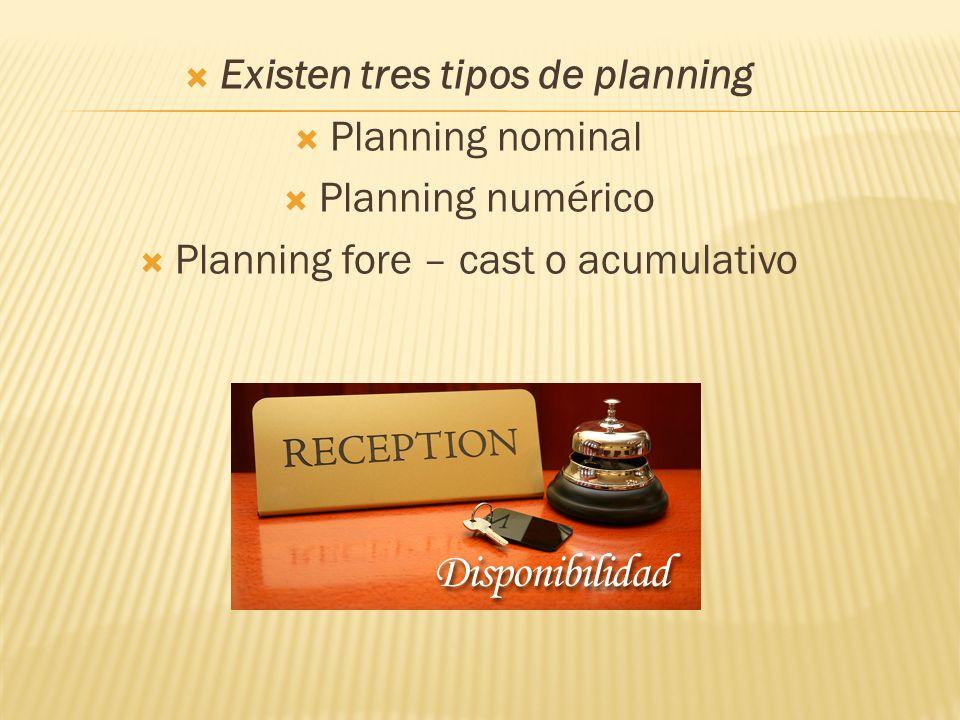 Existen tres tipos de planning Planning nominal Planning numérico Planning fore – cast o acumulativo